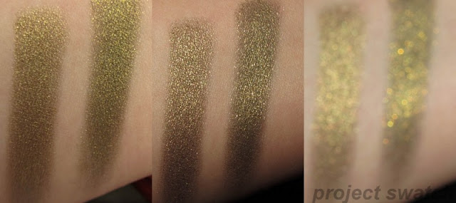Gleaming Bronze Cosmic Black Infallible swatches comparison