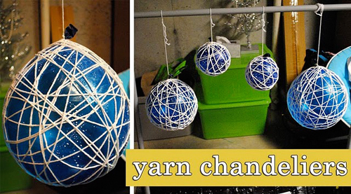 Yarn Chandelier Tutorial by CraftedLove