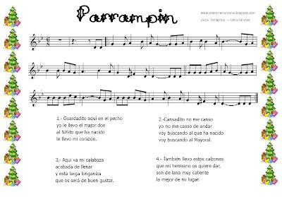 Diegosax Partituras Parrampin Villancico Partitura para Flauta e instrumentos en clave de sol Ficha para colorear con letra Partitura El Buen Rabadán