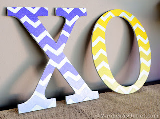 Custom painted decorative letters with ombre chevron pattern using free stencil from MardiGrasOutlet.com