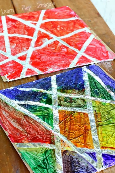 Tape resist art on a foil canvas - art for kids