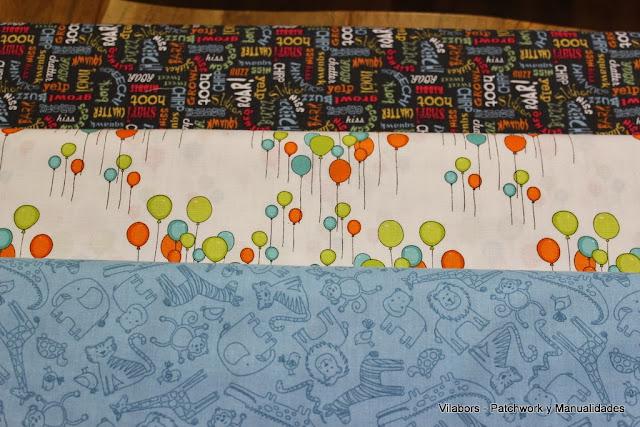 Telas de Patchwork infantiles con motivos variados, palabras, globos y animales