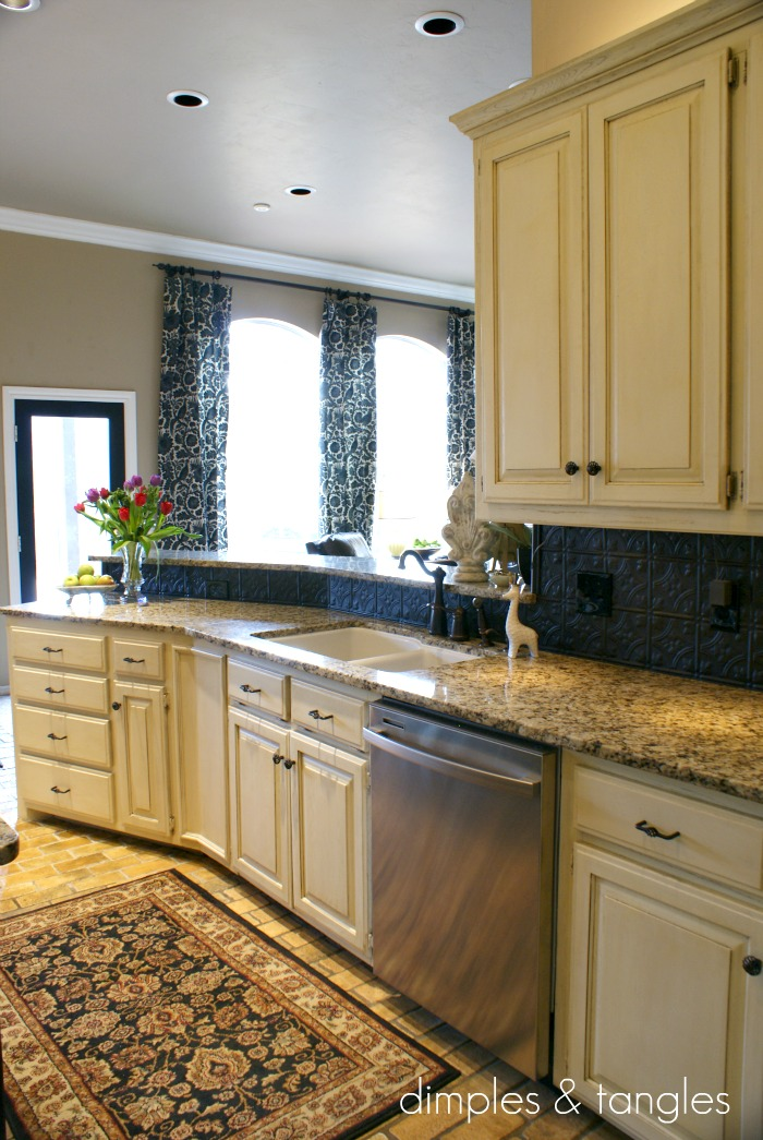 Dimples and Tangles: How to Cover an Ugly Kitchen Backsplash {Way ...