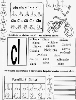 LETRAS CL, anos iniciais, alfabetização,atividades para imprimir, atividades com CL.