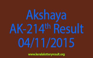 Akshaya AK 214 Lottery Result 4-11-2015
