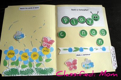 Free Spring Sight Words File Folder Game