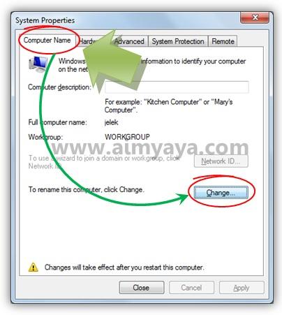 Gambar: Merubah nama komputer