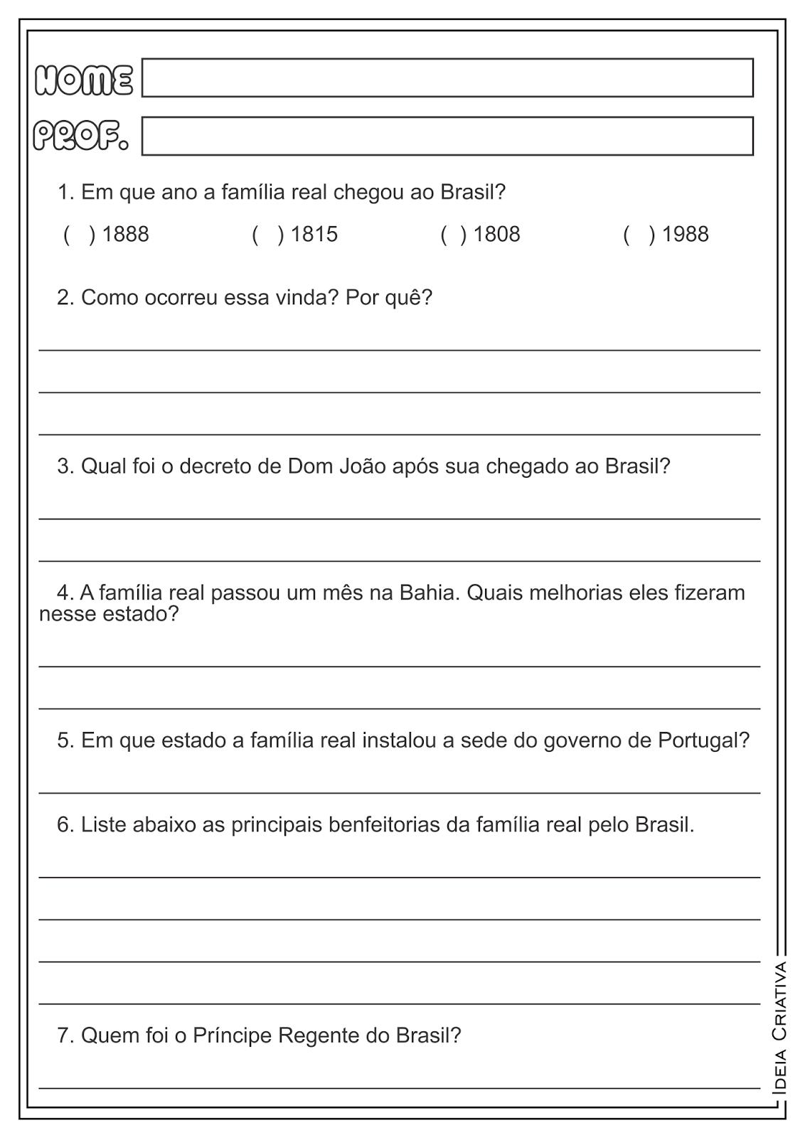 Família Real no Brasil História Atividade Ensino Fundamental