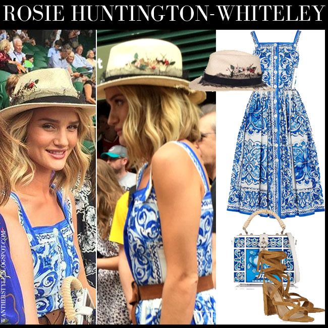 Rosie Huntington-Whiteley in blue and white print midi Dolce Gabbana dress and straw hat Maison Michel Andre what she wore july 3 wimbledon