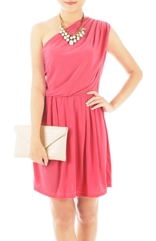 Salmon Pink One-shoulder Dress