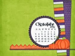 October 2013 desktop calendar sample