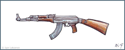 drawing ak 47 (Russian rifle)