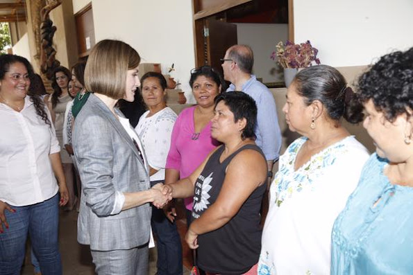 Queen Letizia of Spain visited a market in Suchitoto, 47 km east of San Salvador,
