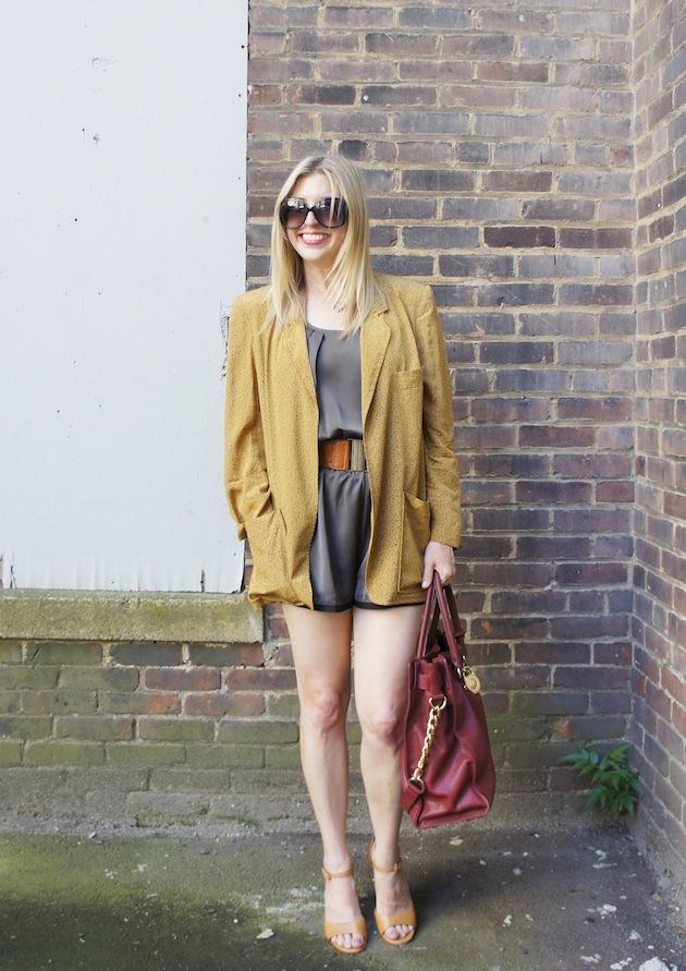 bcbgeneration jumpsuit, olive romper, ecco owen, mustard jacket, mustard blazer