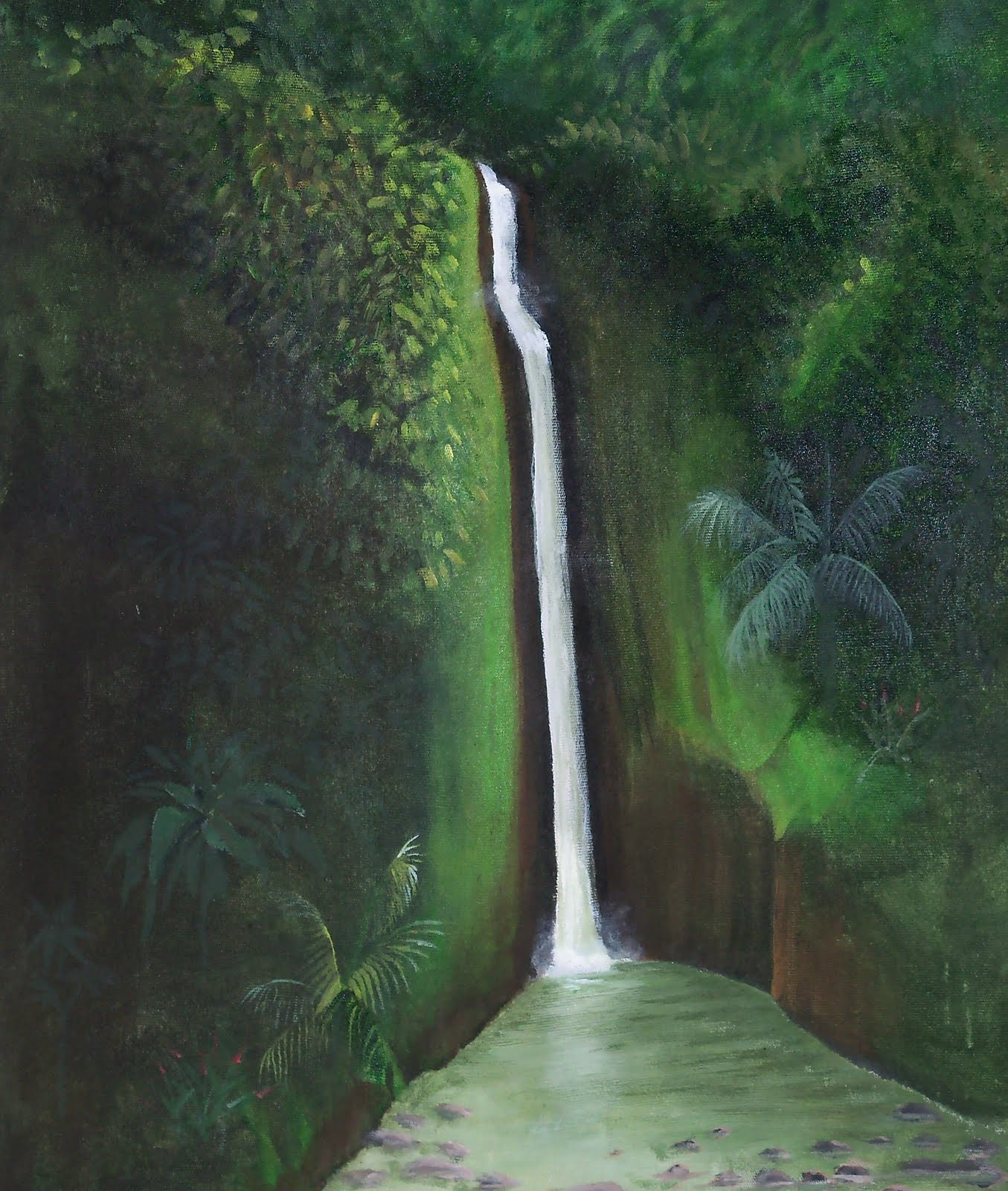 Jungle and rainforest art of costa rica colorful costa for Waterfall landscape