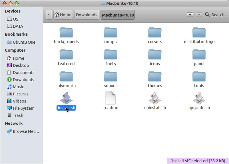 Install MacBuntu di Ubuntu 12.04 LTS - Klik 2 kali pada file install.sh