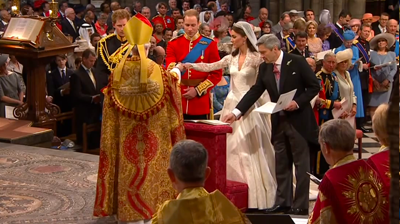 Prince William takes Catherine's hand. YouTube 2011.