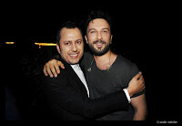 Tarkan and Colakoglu pictured together backstage at Colakoglu's launch show at the Turkcell Kurucesme Arena