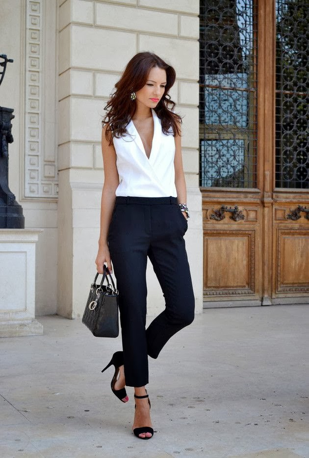 White V Neck Shirt With Black Pent And Black Heel Shoes