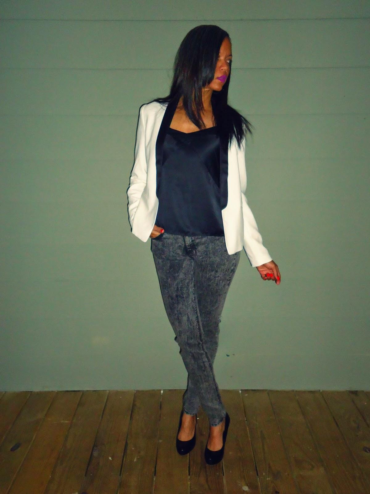 tuxedo jacket; skinny jeans