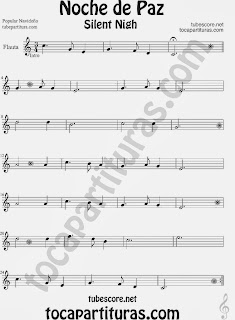 Partitura de NOCHE DE PAZ para Flauta Travesera, flauta dulce y flauta de pico  Villancico Christmas Song SILENT NIGH Sheet Music for Flute and Recorder Music Scores