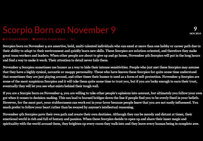 November 10 Birthday Horoscope Personality | Sun Signs