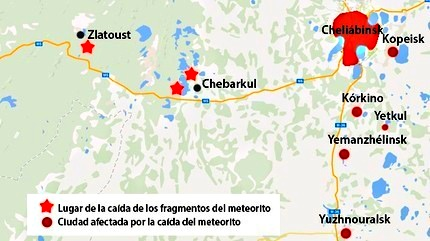 zonas afectadas por meteorito