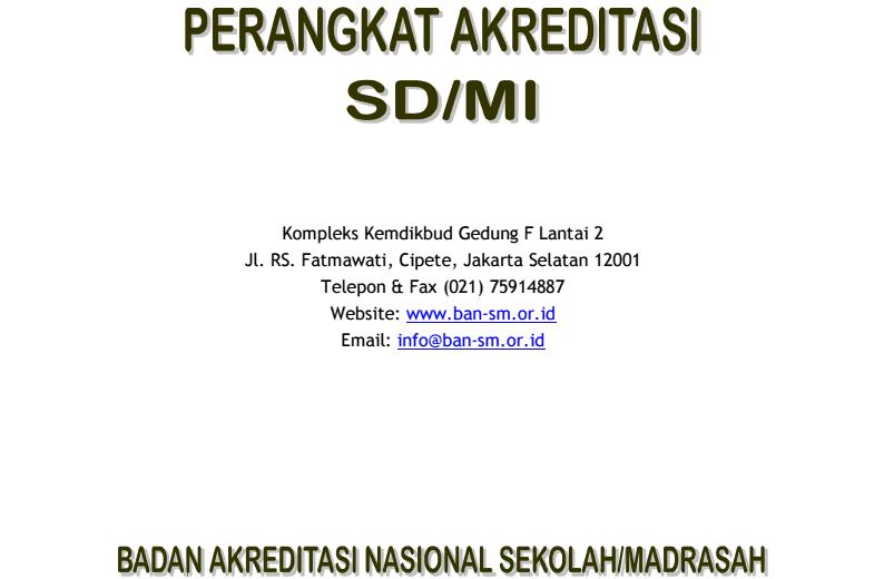 Dokumen Utama Akreditasi SD-MI dengan Peraturan Menteri