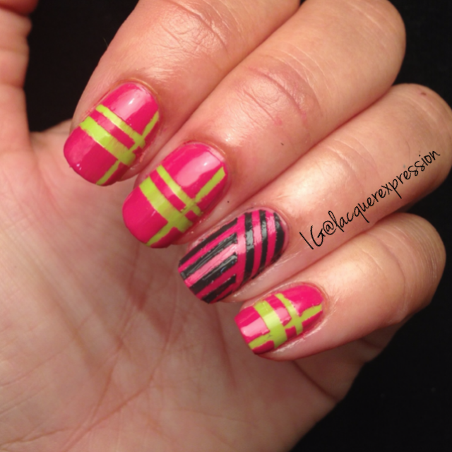 Abstract watermelon nail art manicure using nyc greenwich village china glaze concrete catwalk sinful colors professionals striping tape vinyls