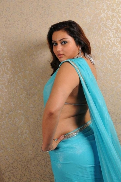 Namitha transparent Blue Saree Hot photos