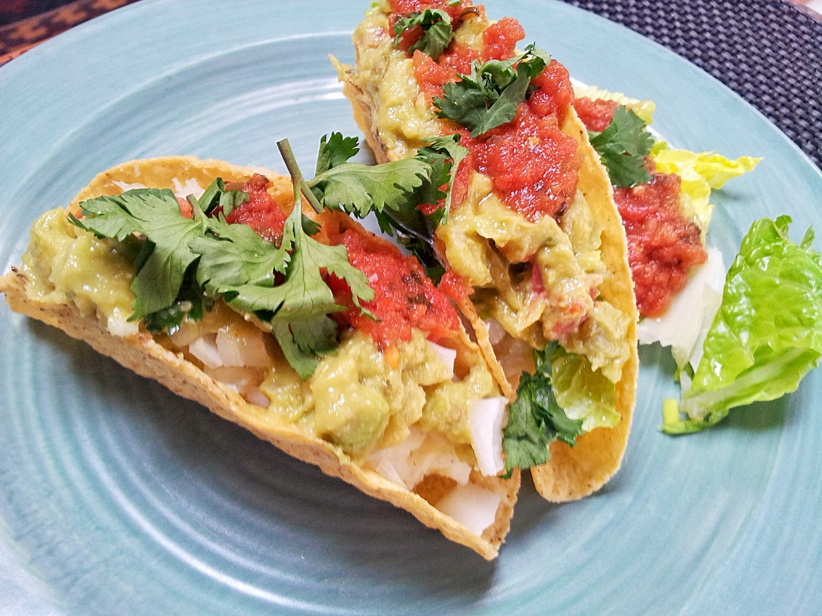 red or green?: smashed potato tacos with guacamole & tomato salsa