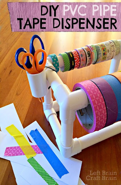 DIY a tape dispenser and washi tape organizer with PVC pipe :: OrganizingMadeFun.com