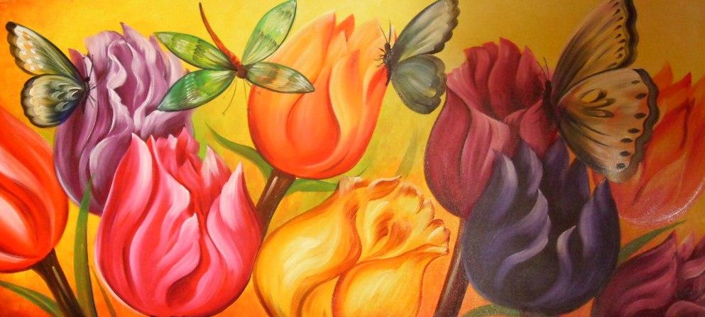 cuadro de flores colombianas oleo sobre lienzo