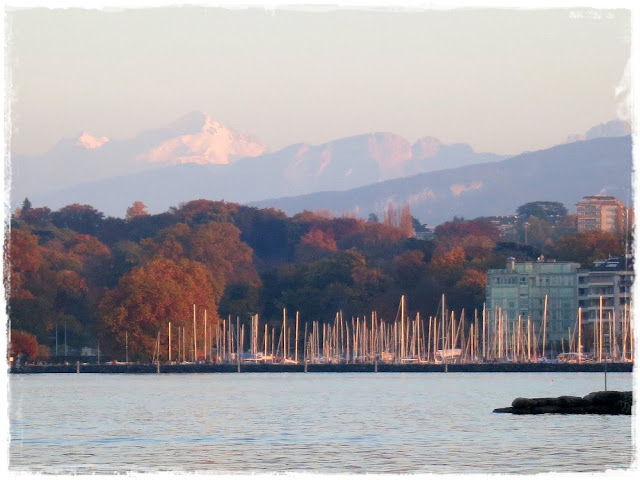 Rive Gauche, Geneva, Switzerland, with the Mont Blanc in the background.