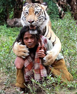 Foto Abdullah Sholeh dengan seekor harimau bernama Mulan