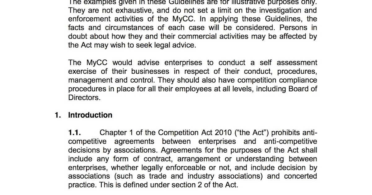 Competition Act 2010 Guidelines To Chapter 1 Voices