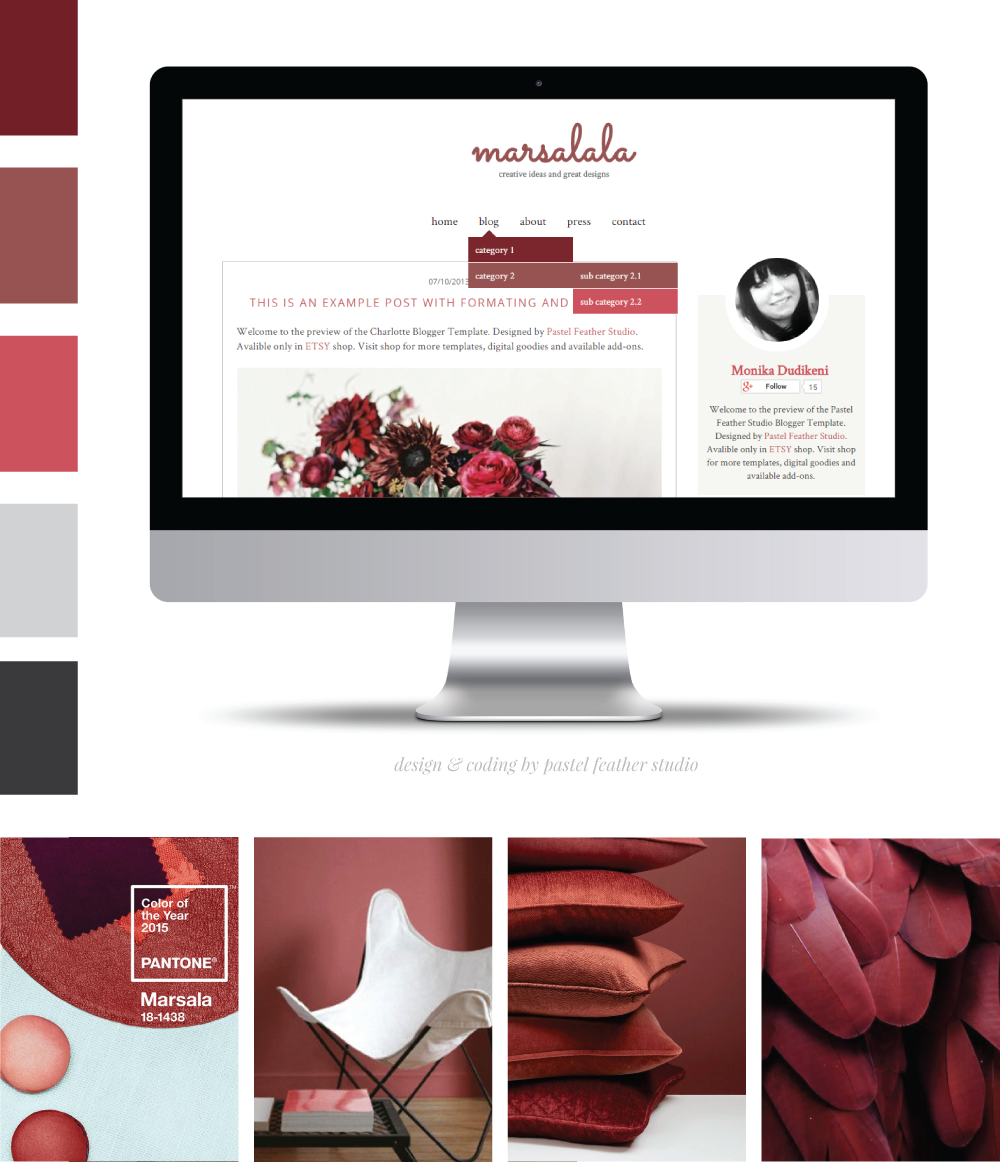 marsalala blogger template pastel feather studio