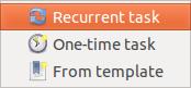 Gnome Schedule New Task menu screenshot