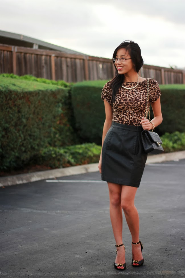 leather skirt and animal print combo trend