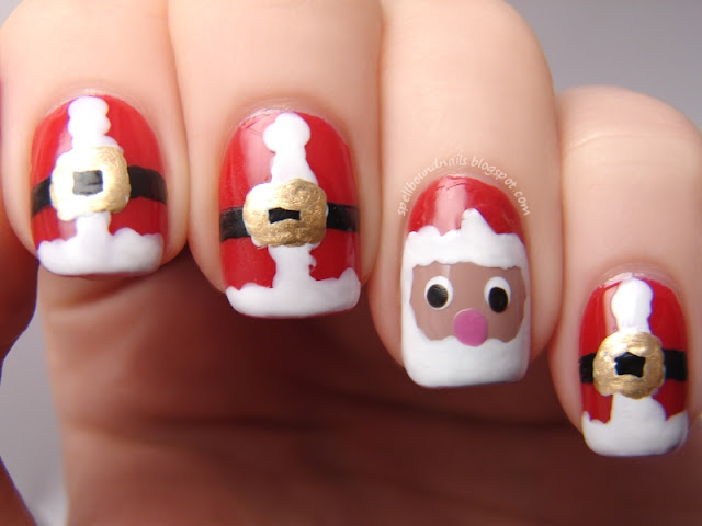 nails nailart nail art polish mani manicure Spellbound Merry Christmas holiday Santa suits suit face red white wet n wild I red a good book L.A. Colors gold Maybelline Bold The Grinch Who Stole Christmas green fur furred furry textured texture Revlon Garden heart two sizes too small hat