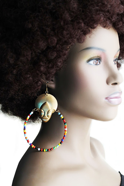 african brass beaded afro hoop earrings