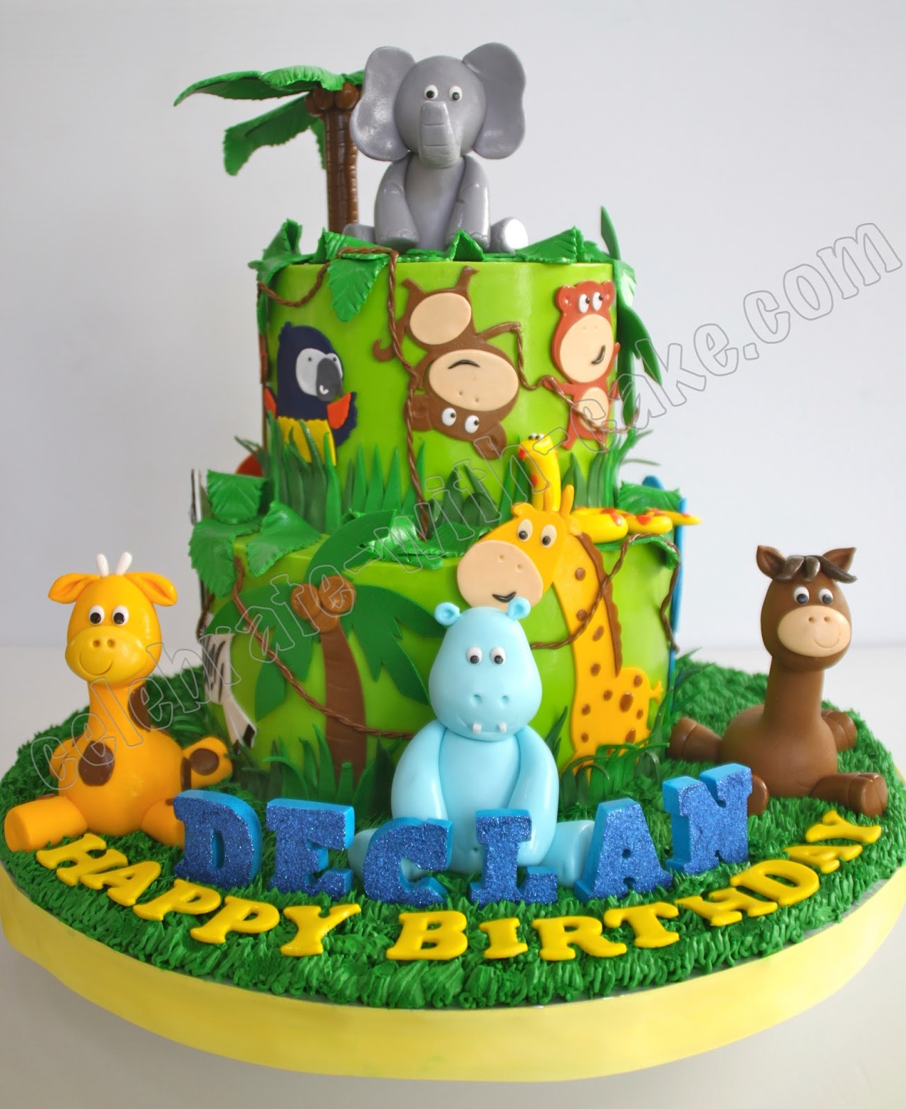 Animal Safari Jungle 2 Tier Cake