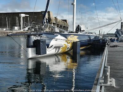 Gitana 16 après sa remise à l'eau à Lorient.