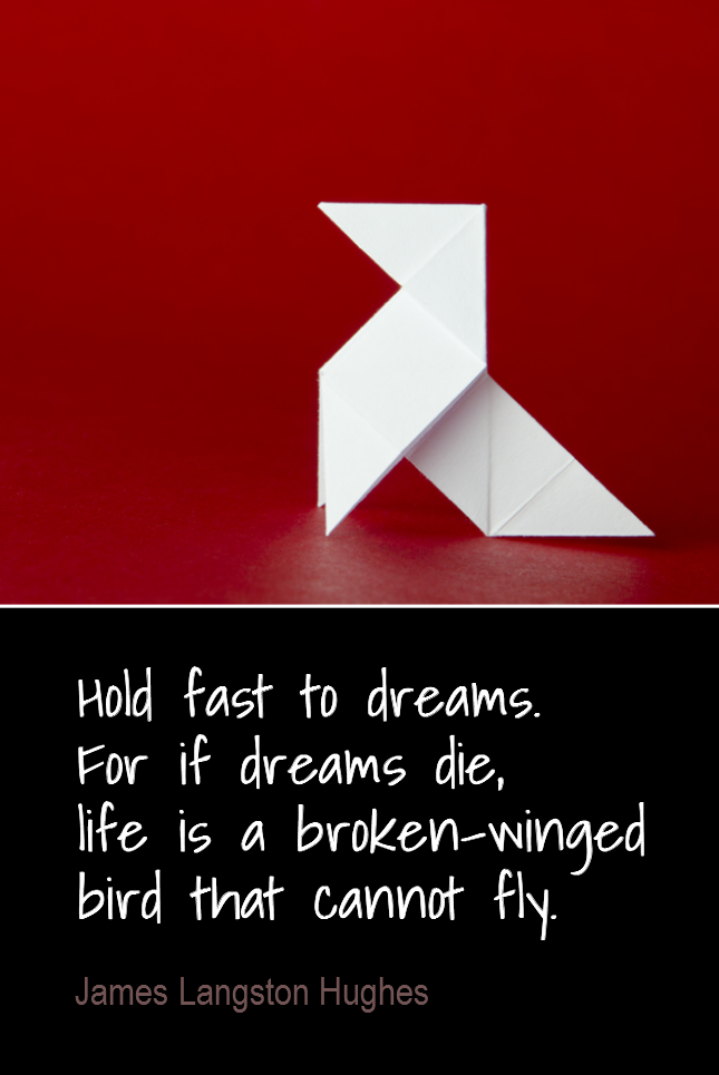 visual quote - image quotation for GOALS - Hold fast to dreams. For if dreams die, life is a broken-winged bird that cannot fly. - James Langston Hughes