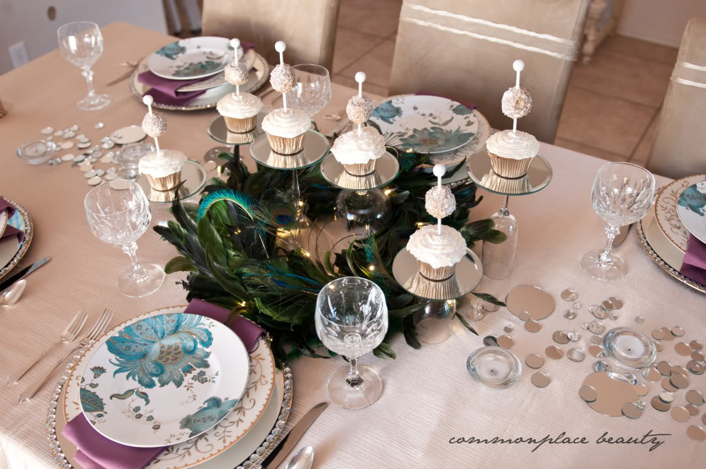 Peacock Inspired Table Setting by Common Place Beauty