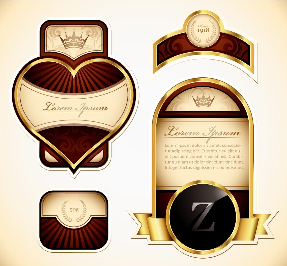 豪華な金の装飾ラベル shape of the gold label multiple vector イラスト素材