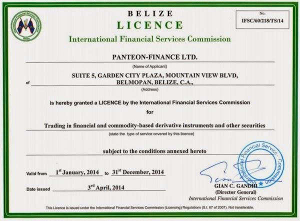 лицензия Panteon Finance белиз