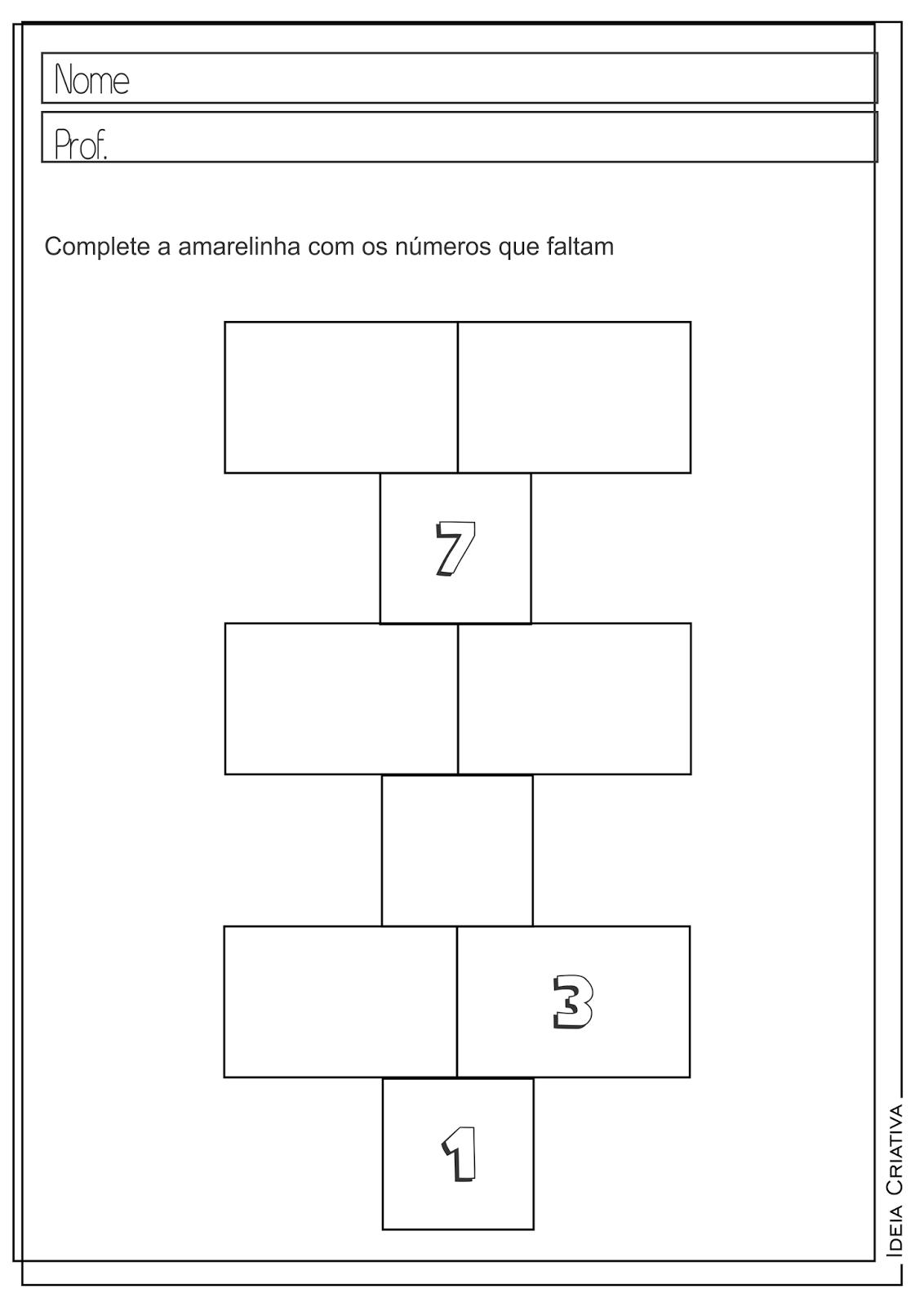 Atividades Educativas Matemática Sequência Numérica para Ensino Fundamental