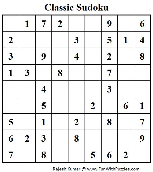 Classic Sudoku (Fun With Sudoku #98)