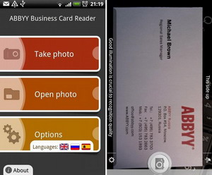 ABBYY Business Card Reader released for Android
